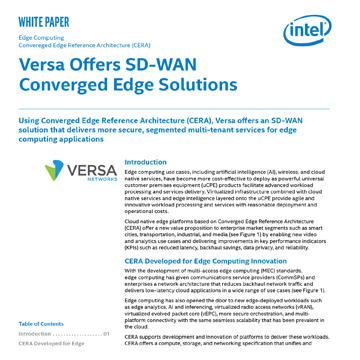 Versa Offers SD-WAN Converged Edge Solutions